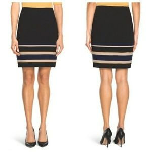 WHBM Striped Ponte Mini Skirt Black Navy Yellow 4